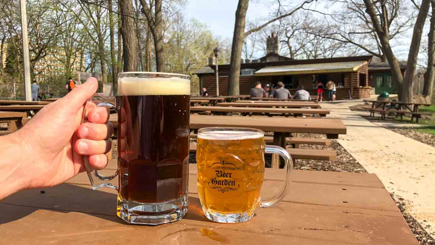 two mugs of beer at Hubbard Park Lodge Beer Garden in Milwaukee Wisconsin