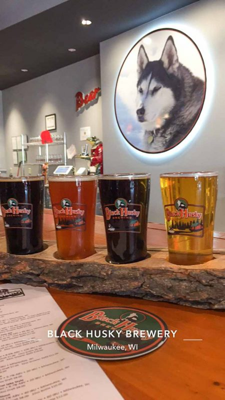 pinterest pin - Flight of beers at Black Husky Brewing in Milwaukee