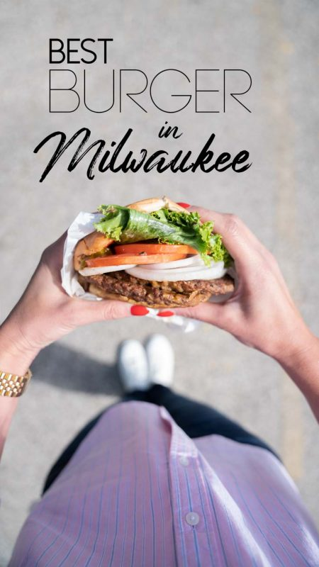 pinterest pin for best burgers in Milwaukee - Woman holding kopps frozen custard burger
