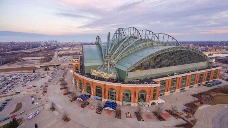 Brewers Baseball Stadium - Miller Park at Sunset - Top things to do in Milwaukee