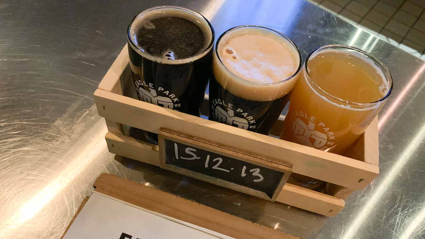 flight of beer at Eagle Park Brewing company in Milwaukee