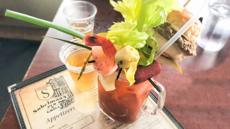 Bloody Mary at Sobelman's famous for crazy garnishes like cheeseburgers