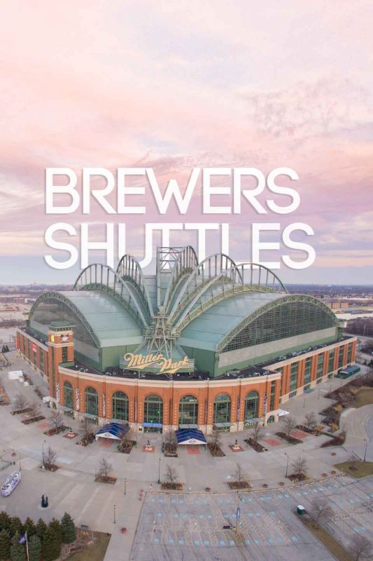 pinterest pin for best Brewer game shuttles to Miller Park in Milwaukee - Stadium at sunset