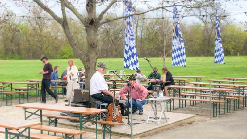 Polka band setting up at Estabrook Park Beer Garden in Milwaukee