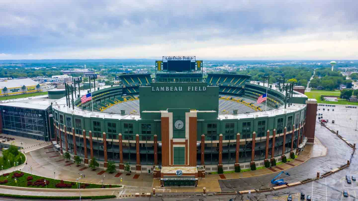 Aerial Lambeau Field Green Bay Packers