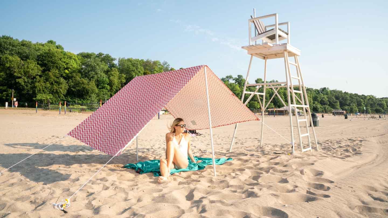 girl on Bradford Beach in Milwaukee
